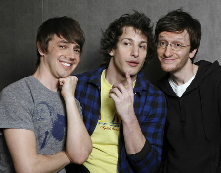 Andy Samberg wallpaper possibly with a well dressed person and a portrait titled Andy, Akiva, and Jorma