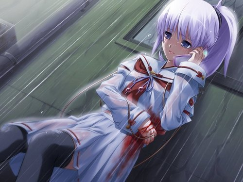 ragazze Anime wallpaper possibly with a portello, wicket and a sign entitled Crying Anime Girl ^^