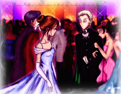 Dramione wallpaper possibly with a dinner dress, a bridesmaid, and a cocktail dress entitled Dramione  fanart <333