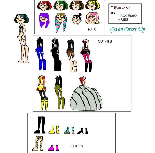 Total Drama Island karatasi la kupamba ukuta called Gwen Dress Up