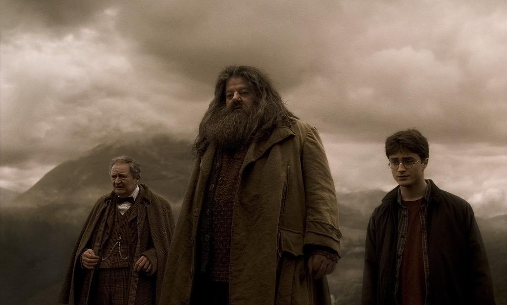 hagrid slughorn and harry hphbp hogwarts professors