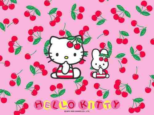 Hello Kitty ceri, cherry kertas dinding