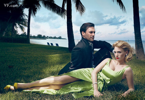 Mad Men wallpaper probably containing a live oak entitled January Jones & Jon Hamm
