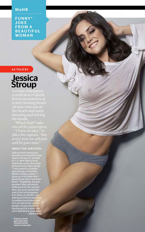Jessica Stroup in a shoot for Esquire magazine