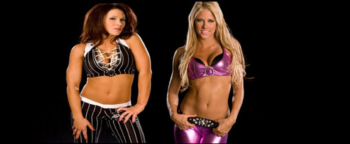 WWE wallpaper probably with a bikini entitled Mickie James and Kelly Kelly