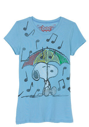 Snoopy Raining Music Tee