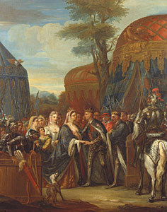 The meeting of Henry V of England and the কুইন of France