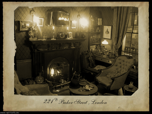 Sherlock Holmes fond d'écran possibly with a drawing room, a family room, and a living room entitled Baker rue