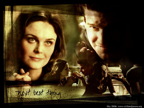 Seeley Booth achtergrond probably with a sign called Booth & Bones <3