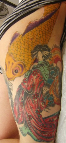 Japanese leg tattoo