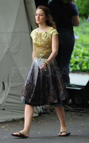 Leighton on set