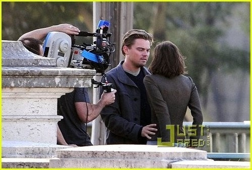 Marion on the set of 'Inception'
