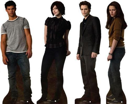 Twilight Series wallpaper with a business suit, a well dressed person, and a suit called New Moon Cardboard Cutout of Edward, Jacob, Alice and Bella!!!
