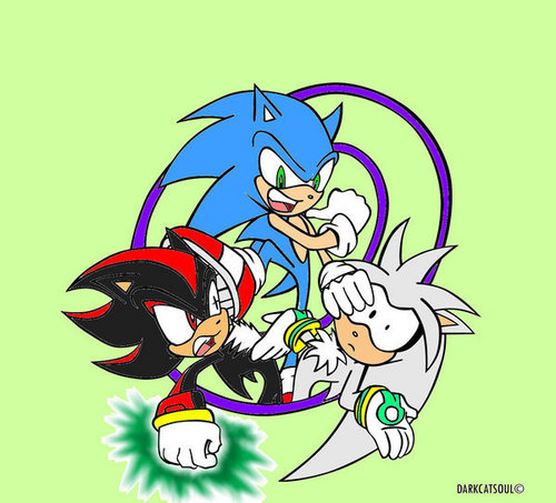 Sonic, Shadow, and Silver wallpaper with anime titled Sonic, Shadow and Silver