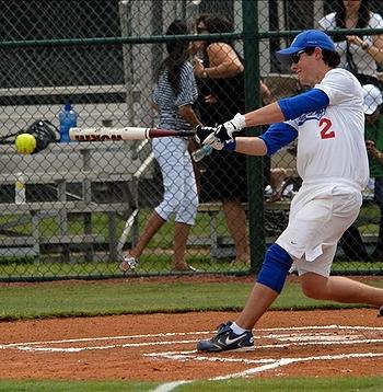 nick playing softball