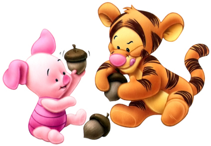 Winnie the Pooh wolpeyper called Baby Tigger and Piglet