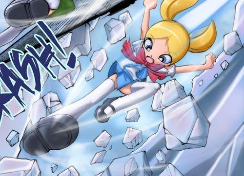 Bubbles (PowerPuff Girls) kertas dinding containing Anime entitled Bubbles