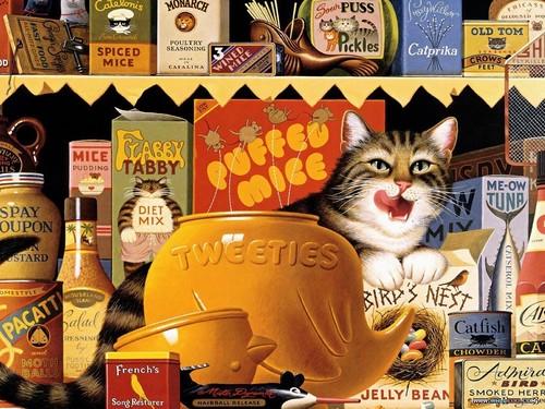 Cat Tales #3 karatasi la kupamba ukuta