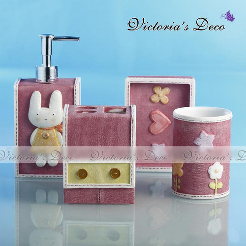 Cute Sweet Bunny 4pc Resin Bathroom Set pack in box