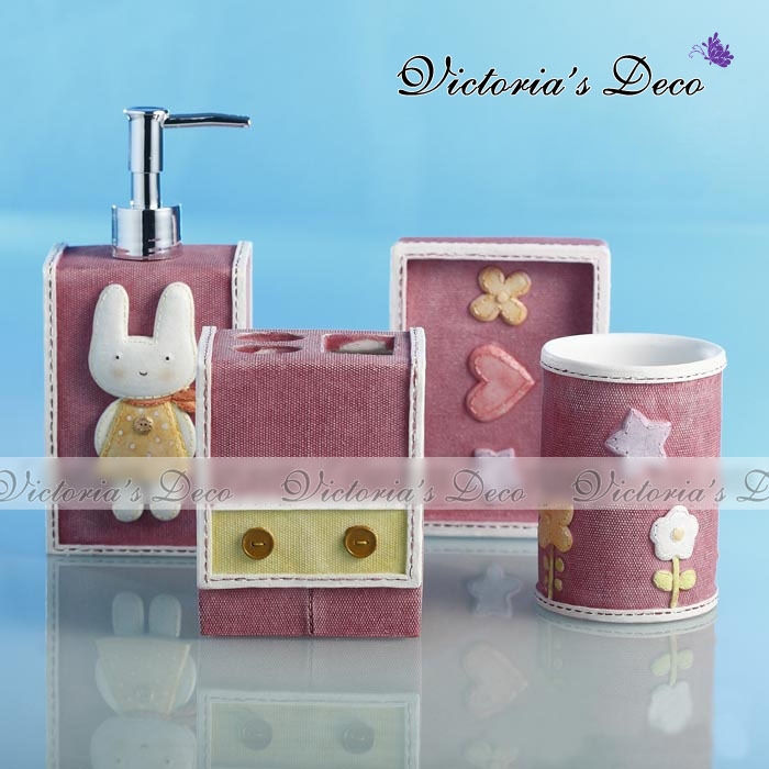 Home Decorating Images Cute Sweet Bunny 4pc Resin Bathroom Set Pack In Box Wallpaper And Background Photos