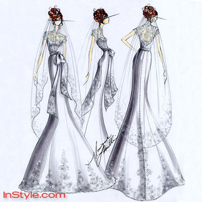 Wedding Dress Designer on Fashion Designers Sketch Bella S Wedding Dress For Instyle Magazine