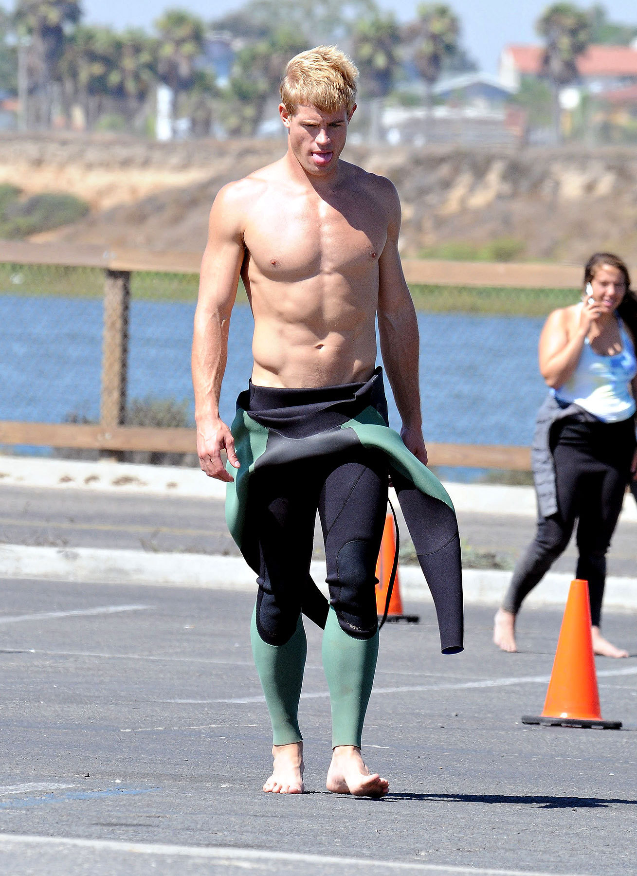 Hot surfer Trevor on set