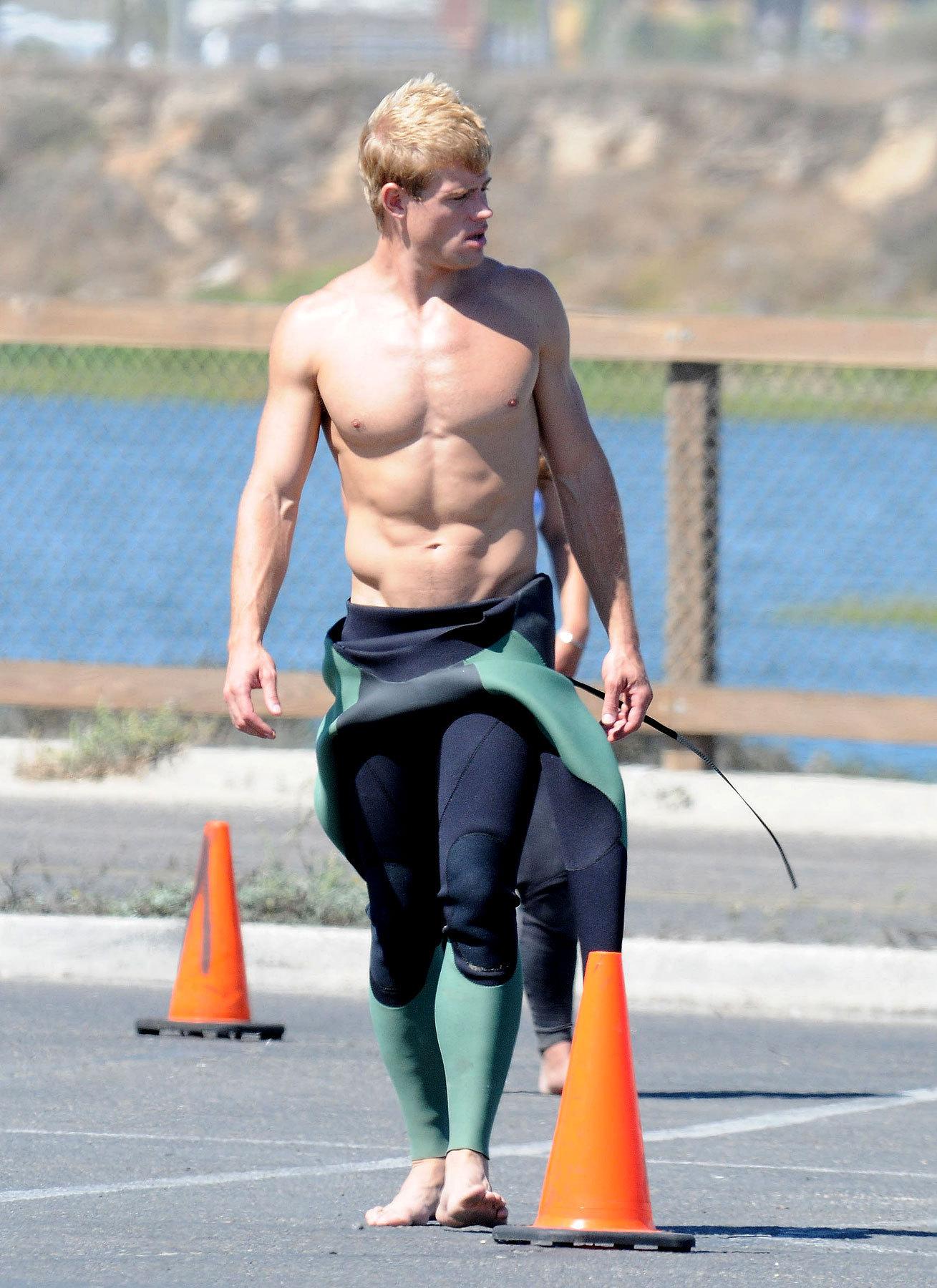 Hot surfer Trevor on set