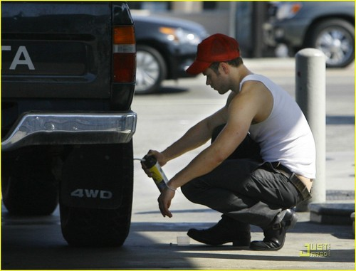 Kellan Lutz is a Flat Tire Fixer