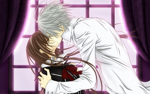 Vampire Knight karatasi la kupamba ukuta containing a kimono entitled Kiss Yuuki and Zero