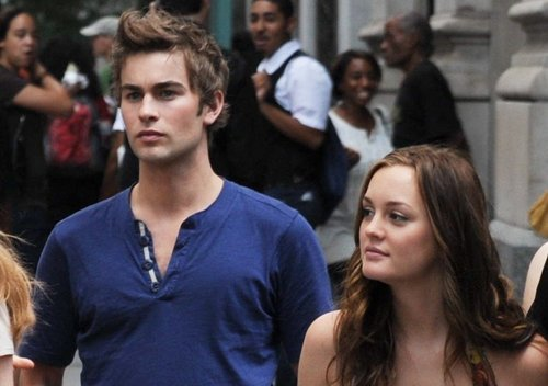 Leighton and Chace behind the set