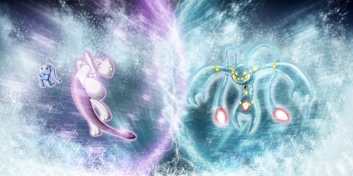 전설의 포켓몬 바탕화면 possibly with a 분수 and an embryonic cell entitled Mewtwo VS Manaphytwo