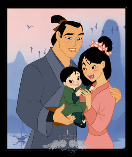 Disney Couples wallpaper possibly containing anime entitled Mulan's Family