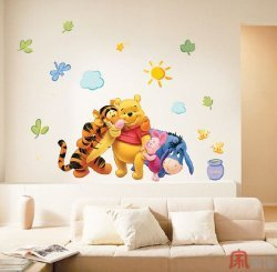 Home Decorating wallpaper containing a daybed titled Mural Art Wall Stickers - Pooh&Tigger