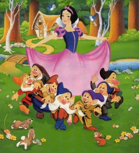 Snow White and the Seven Dwarfs wallpaper possibly containing anime titled Snow White and the Seven Dwarfs
