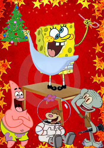 Spongebob Squarepants wallpaper containing anime titled embarrassing Snapshot of SpongeBob at the Christmas Party