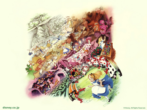 Alice in Wonderland kertas dinding