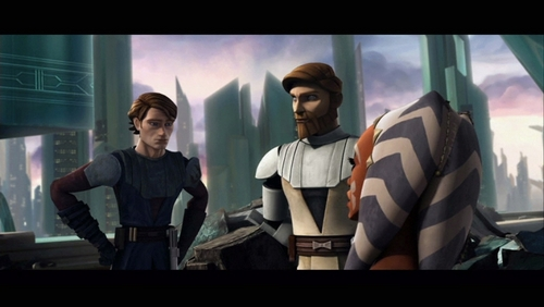 ster Wars: Clone Wars achtergrond with a televisie receiver, a high definition television, and a home pagina theater called Anakin and Obi-Wan meeting Ahoska