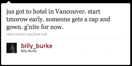 Billy Burke Twitter (Graduation Scene to be Filmed Today???)