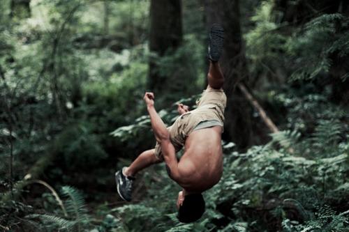 Jake doing backflips