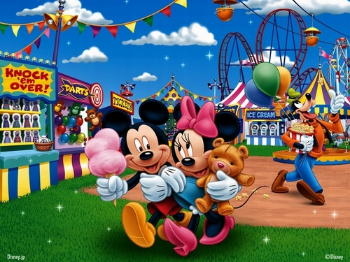 Mickey and Minnie at the Fair kertas dinding