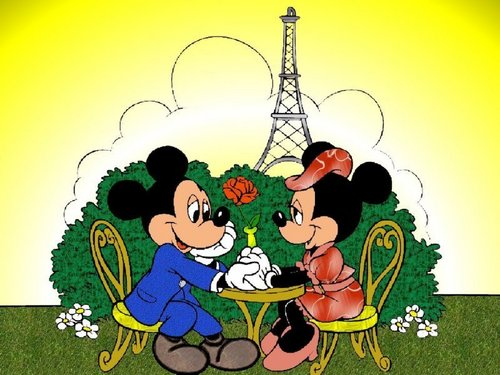 Disney karatasi la kupamba ukuta with anime called Mickey and Minnie in Paris