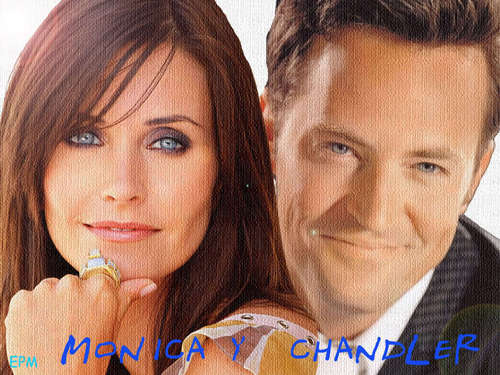 Monica and Chandler wallpaper with a portrait titled Mondler <3