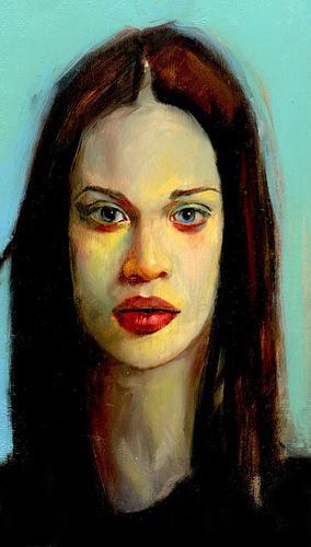 Painted Portrait of Fiona manzana, apple