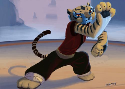 harimau betina, membukakan