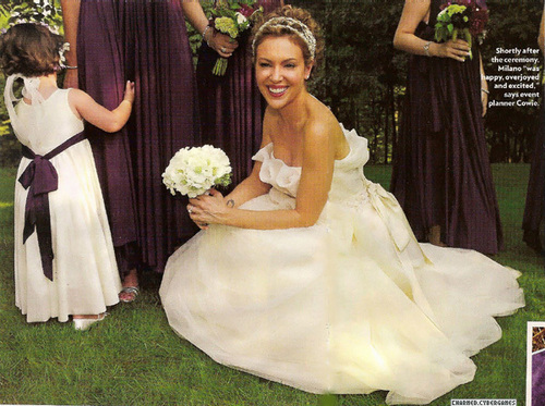 Alyssa Milano wallpaper with a bridesmaid, a gown, and a bridal gown called alyssa's wedding