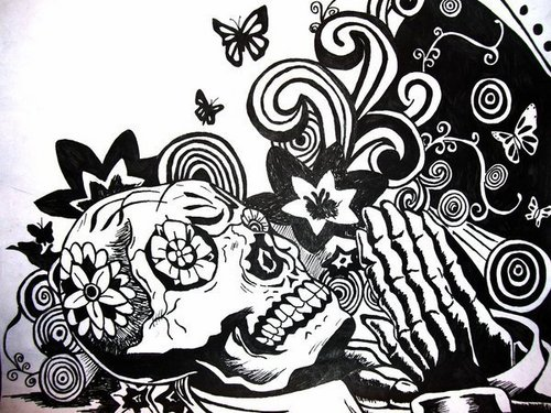 Drawing wallpaper entitled Dia De Los Muertos