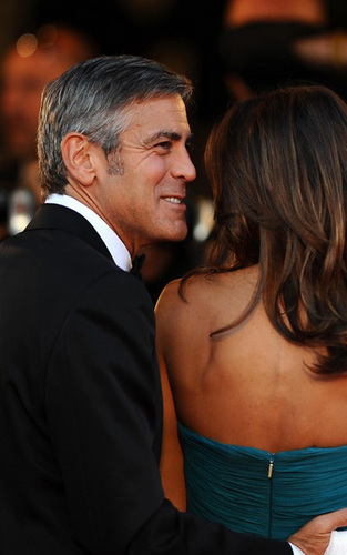 George Clooney and Elisabetta Canalis at the Venice Film Festival