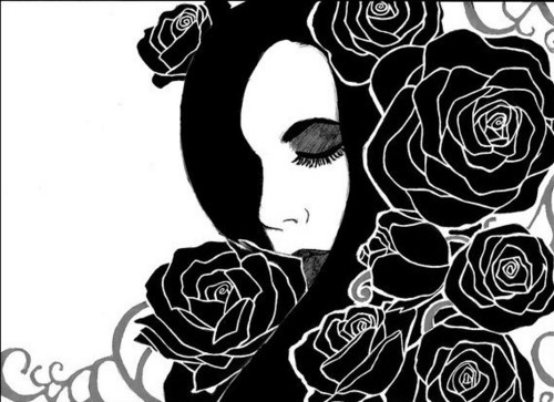 Girl and Roses - drawing Photo