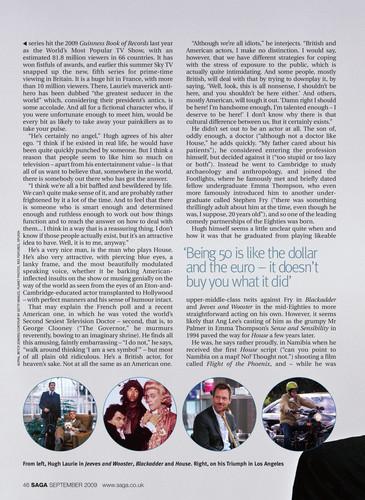 Hugh Laurie - Saga Magazine (UK) Sept '09