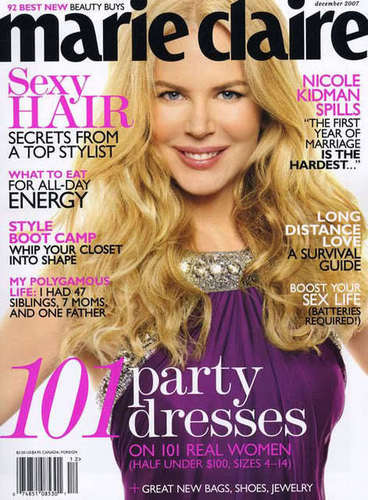 Nicole Kidman as cover in Marie Claire
